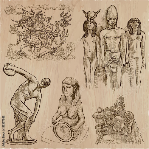 old and native art, artworks - an hand drawn vector pack, freehand sketchiing