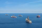 drilling platform,  offshore drill ships, ocean aerial - 183363927