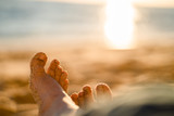 Feet in sand on the beach in Portugal - 183364321