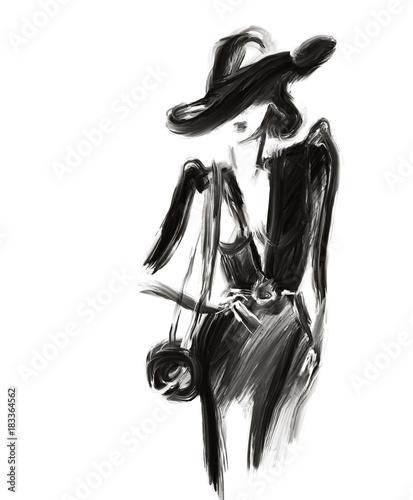 Abstract woman . Fashion illustration.