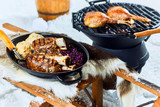 Wholesome grilled pork hocks with dumplings