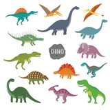 Fototapeta Dinusie - Vector illustration of happy Cartoon Dinosaur Character Set © Nadzin