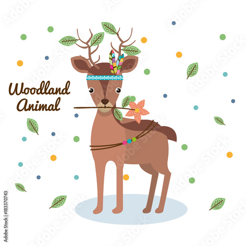 Plexiglas Babykamer deer woodland animal with feather crown vector illustration design