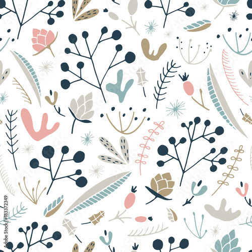 Cotton fabric Wildwood floral seamless pattern. Vector forest print.