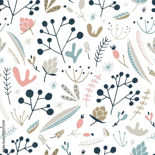 Materiał do szycia Wildwood kwiatowy wzór. Wektor lasu wydruku.