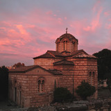 Old greek church on fire sunset,Athens,Greece. - 183374936