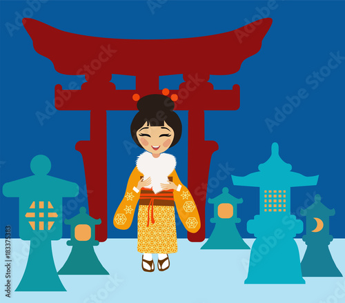 Fototapeta Japanese woman near lanterns made of snow