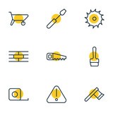Vector Illustration Of 9 Construction Outline Icons. Editable Set Of Paintbrush, Measure Tape, Handcart Elements. - 183377396
