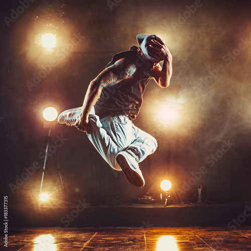 Young man break dancer Poster