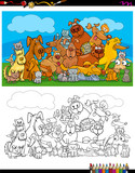dogs and cats characters coloring book - 183378755