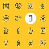 Vector Illustration Of 16 Coffee Outline Icons. Editable Set Of Coffee To Go, Soft Beverage, Cocktail And Other Elements. - 183378761