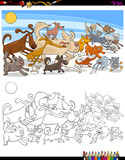 running dogs and cats characters color book - 183378765