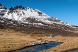 Mountain landscape with river. Iceland.