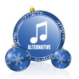 Alternative music blue christmas balls icon - 183384515