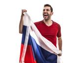 Russian fan celebrating on white background - 183386539