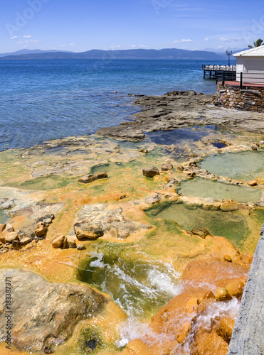 Natural hot spring baths of the Greek spa resort on the Aegean Sea