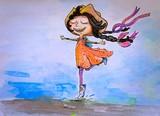 Pencil sketch, watercolor paintings girl - 183388198