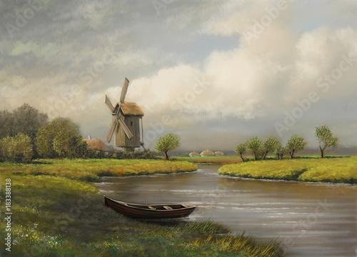 Oil paintings rural landscape, village, river, fine art