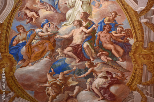 Tuinposter Napels Napoli, Certosa di San Martino, 1325, complesso monumentale religioso.. Affreschi della volta della chiesa.