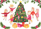 Illustration with Family of the Unicorn and Christmas Tree - 183392514