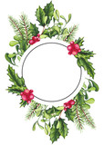 Round Frame with Watercolor Holly and Place for Text - 183392531