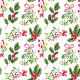 Seamless Pattern of Watercolor Holly and Bouquets with Mistletoe - 183392555