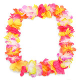 Frame from flowers necklace. Traditional Hawaiian decoration. - 183398981
