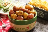 Home cooked baked roasted baby potatoes with herbs/ Xmas thanksgiving side dish, selective focus - 183401397