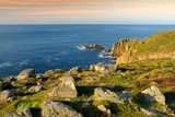 Rough and rocky shore near Land's End, the most westerly point of England, Cornwall - 183402323