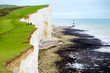 Beautiful white chalk cliffs of the Seven Sisters at Birling Gap coastline, Eastbourne, East Sussex, UK