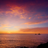 Sunset over Porth Nanven in the Cot Valley of Cornwall, England