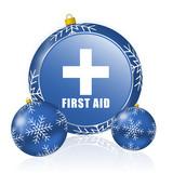 First aid blue christmas balls icon - 183408960