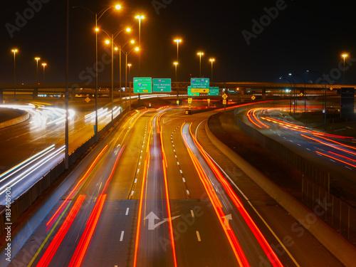 Canvas Nacht snelweg Montreal highway, long exposure