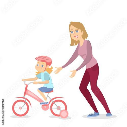 Children teaching cycling.