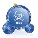 Toxic skull blue christmas balls icon - 183411346