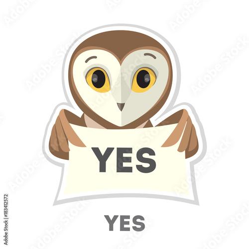 Plexiglas Uilen cartoon Isolated agreeing owl.