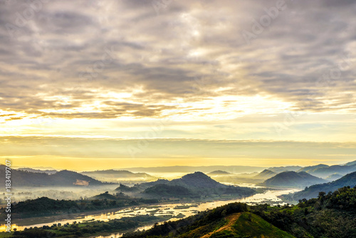 Foto op Canvas Beige Landscape of mountain and beautiful sky on morning