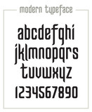 Modern condensed sanserif narrow font with numerals in vector format - 183421566