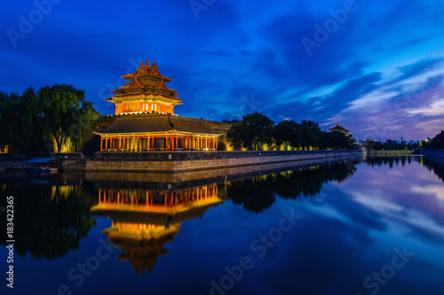 Fototapeta Beijing, China - JUN 27, 2014: Sunset at Forbidden City Moat, Corner Towers