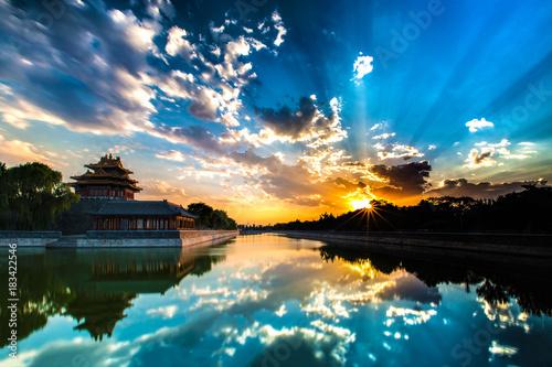 Fototapeta Beijing, China - JUL 11, 2014: Sunset at Forbidden City Moat, Corner Towers