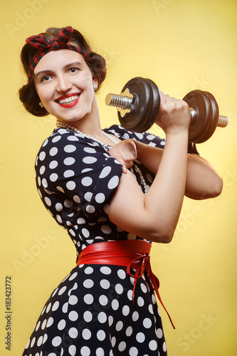 woman with dumbbell Poster