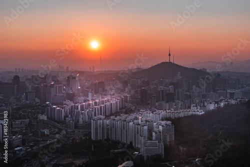 Wall mural Panorama of Seoul City Skyline , South Korea