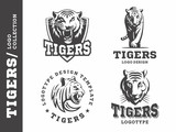 Tigers black and white - logo, icon, illustration collection on white background