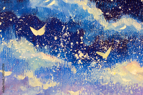 Fototapeta White abstractions against background of night blue violet sky original oil painting illustration, beautiful snow falls, Christmas, a fairy tale, a dream on canvas postcard artwork.