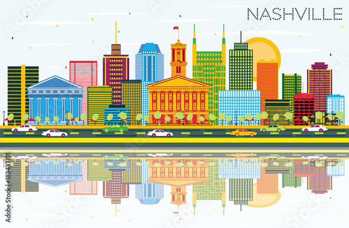 Nashville Skyline with Color Buildings, Blue Sky and Reflections.