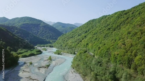 The Teberda River in the Caucasus Mountains. Along it is the Military-Sukhum road. Karachay-Cherkess Republic, Russia, From Dron