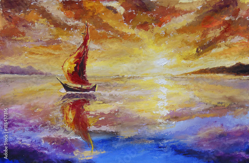 A ship with red sails original oil painting illustration, beautiful sunset, dawn over sea, water on canvas postcard. Abstract reflection of clouds in a river.