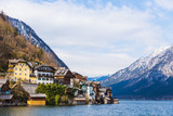 view of Hallstat town at lake and mountain, on a beautiful early spring day - 183441745