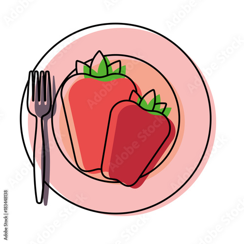 plate with red pepper vector illustration