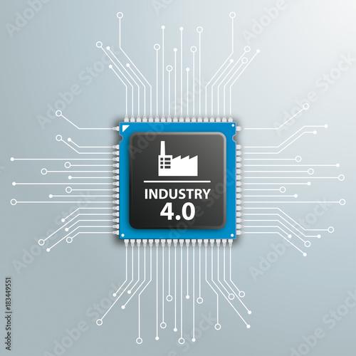 Fotobehang Hoogte schaal Industry 4.0 Futuristic Processor Circuit Board Infographic